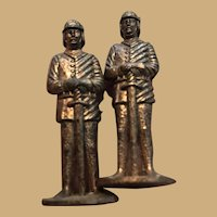 Two Small 1-1/2 inch Copper Knights with Swords