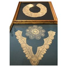 Beautiful Framed Set of Handmade Lace Collars