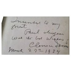 The Story of My Life, Clarence Darrow Autobiography, INSCRIBED