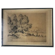 Original Drypoint Etching signed by Artist S.M. Litten - Very Spectacular