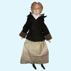 Tin Head Doll in Riding Jacket - Spectacular Condition