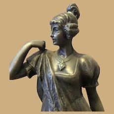 Romantic 19th century Viennese Bronze Sculpture of a Girl