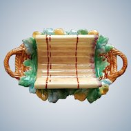 Antique French Gien Asparagus Server in Barbotine Majolica