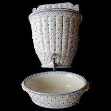 French Antique Porcelain Lavabo by Creil et Montereau Rare Complete with Basin