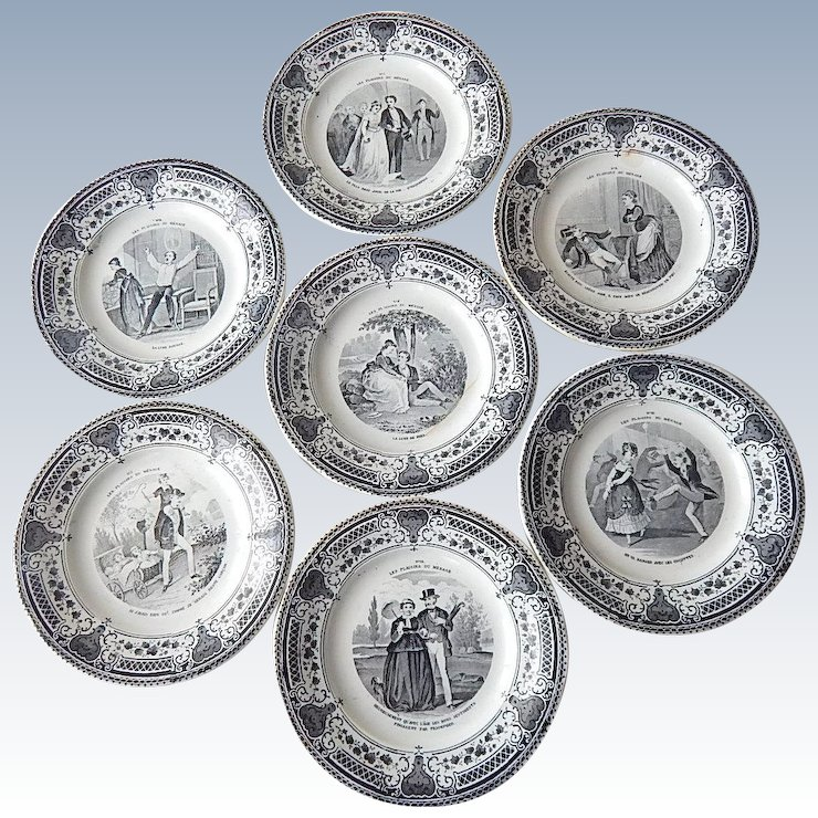 Set of 7 French Antique Dessert Plates Pleasures of Marriage Theme c. 1876-1884 & Set of 7 French Antique Dessert Plates Pleasures of Marriage Theme c ...