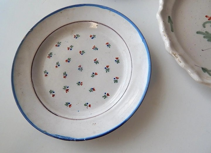 Antique French Plates Group of 6 from 1700s and 1800s Hand Painted : antique french plates - Pezcame.Com