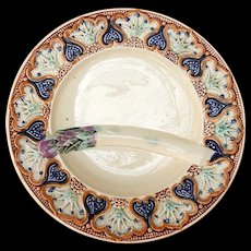 Set of 6 Wasmuel Majolica Antique French Asparagus Plates