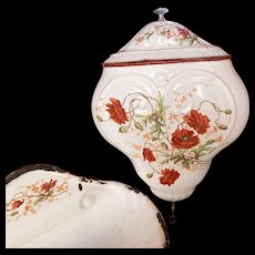Rare Antique French Enamelware Water Holder for the Kitchen with Poppy Decoration - Red Tag Sale Item