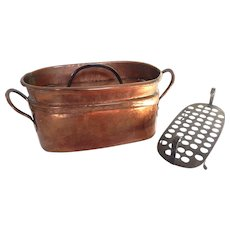 Antique Copper French Fish Cooker Poissoniere or Daubiere