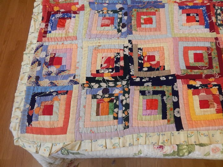 Traditional Log Cabin Quilt Floral Prints In Cotton Vintage English Quilt