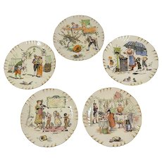 French Plates Set of 5 with Romantic Theme by French Artist Richard Froment - Red Tag Sale Item