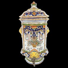 Hand Painted French Water Holder for the Kitchen by Emile Tessier Malicorne or Desvres Fourmaintraux c.1900