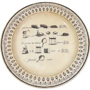Antique French Dessert Plate with Rebus Theme Early 19th Century