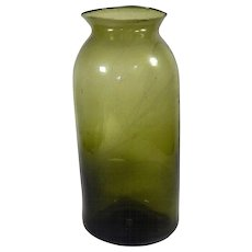 Handblown Glass French Antique Truffle Preserving Jar in Olive Green