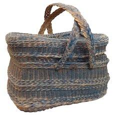 Large Handwoven Vintage French Picnic Basket - Red Tag Sale Item