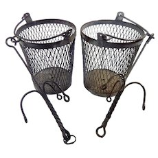 Pair of French Coal Miners Personal 'Locker or Shower' Baskets Rustic and Hand Made French Vintage Metal Baskets