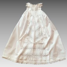 English Victorian Christening Gown with Lots of Ruffles and Embroidery