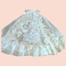 Magnificent French Belle Epoque Christening Gown Lavished with Hand Embroidery and Handmade Lace...of Museum Quality