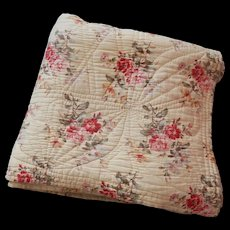 Large Traditional French Boutis in Floral Prints in Cotton 'Barkcloth' Vintage French Quilt - Red Tag Sale Item