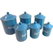 6 Vintage French Enamelware Canisters in Blue Complete with Lids