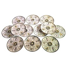 12 Vintage French Hand-painted  Quimper Oyster Plates