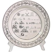 Antique French Dessert Plate with Rebus Theme