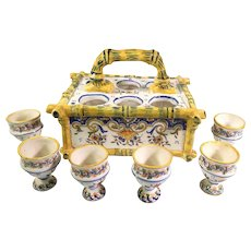 Vintage Hand Painted Desvres French Faience Egg Server with 6 Egg Cups