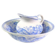 Sarreguemines Transferware Blue and Cream French Basin and Pitcher