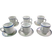 6 French Bistro Coffee Cups Heavy and Authentic