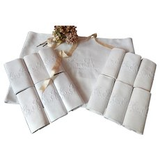 Tablecloth with 12 Matching Napkins in Fine Linen Damask Monogrammed