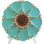 Minton Majolica 'Figural Shell' 9-Well Oyster Plate 1873