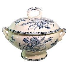 French Porcelain Soup Tureen in Blue Floral Transferware