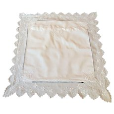Vintage French Square Pillow Case / Euro Sham in Linen with Embroidered  Flowers and Monogram