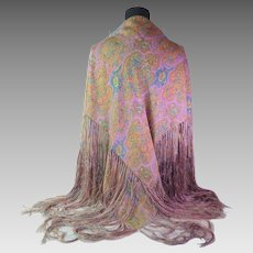 French Vintage Silky Shawl with Fabulous Fringe