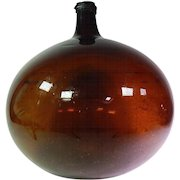French Antique Hand-blown Demi-john with lots of Bubbles in Amber Glass