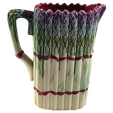 French Majolica Asparagus Pitcher