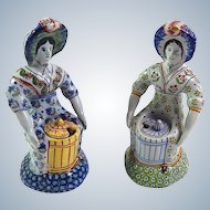Seated Ladies Desvres Antique Mustard Pots From Fourmaintraux-Freres
