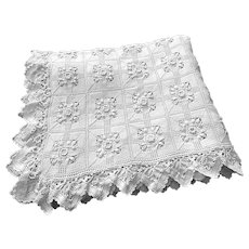 French Vintage Coverlet Hand Made in Beautiful Lacy Crocheted Pattern