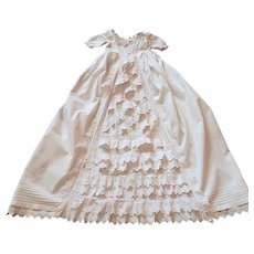 Vintage English Victorian Christening Gown with Masses of Ruffles and Embroidery