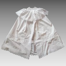 French  Christening Cape Vintage Cotton Pique for Baby Boy...or Girl with 'Broderie Anglaise'