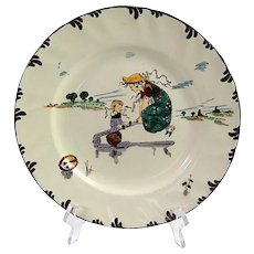 French Plate with Food Theme by Froment-Richard Parisien series by Creil et Montereau
