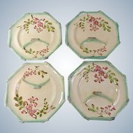 4  Antique French Majolica Asparagus Plates by Longchamp c. 1900