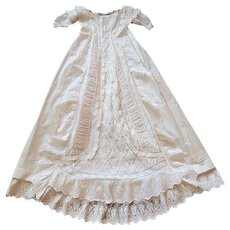 English Antique Victorian Christening Gown with Lots of Ruffles and Embroidery