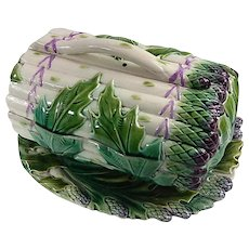 Antique French Asparagus Server in Barbotine Majolica from Luneville