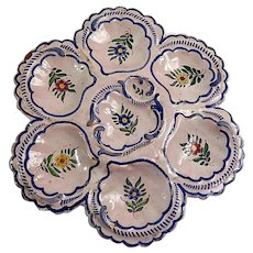 Hand Painted Vintage French Quimper Oyster Plate