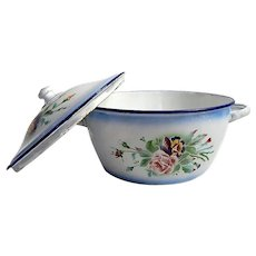 Large Vintage Enamelware Soup Pot...So Shabby and so Chic, Possibly by 'Japy'