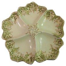 Porcelain French Oyster Plate from Limoges maker Tressemanes & Vogt c.1900