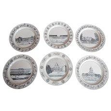 Antique French Dessert Plates  Monuments of Paris Theme Stone, Coquerel et Le Gros c. 1810