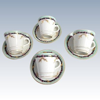 Antique French Bistro Coffee Cups Elegant and Authentic c. 1890-1910 Group of 4