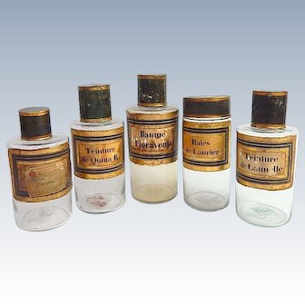 French  Glass Apothecary Bottles